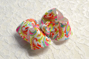 Bright Paisley Hair Bows - Ready to Ship B1