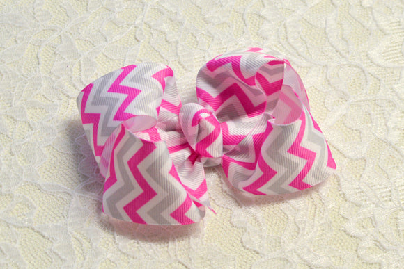 Large Pink and Grey Chevron Boutique Hair Bow - Ready to Ship -B1