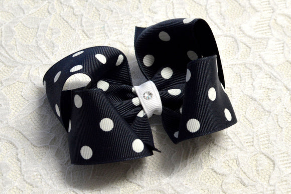 Large Navy Hair Bow - Ready to Ship -B1