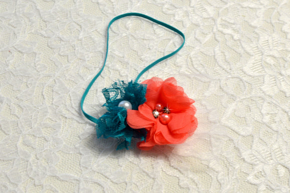 Newborn Coral and Teal Flower Headband - Ready to Ship - Rts1
