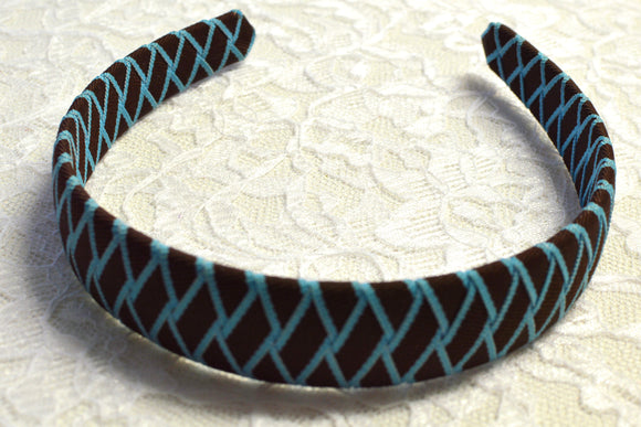Wide Brown and Blue Woven Big Girl Headband - Ready to Ship - B1