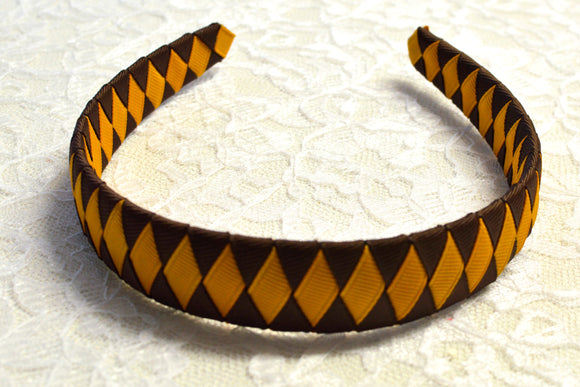 Wide Brown and Gold Woven Big Girl Headband - Ready to Ship - Rts1