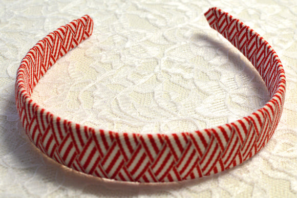 Wide Red and White Woven Big Girl Headband - Ready to Ship - B1
