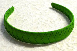 Wide Solid Green Woven Big Girl Headband - Ready to Ship - B1