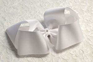 Super Large White Boutique Hair Bow - Ready to Ship -B1
