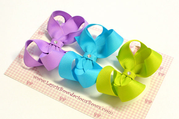solid color baby hair bows, baby bows, 3 inch bows