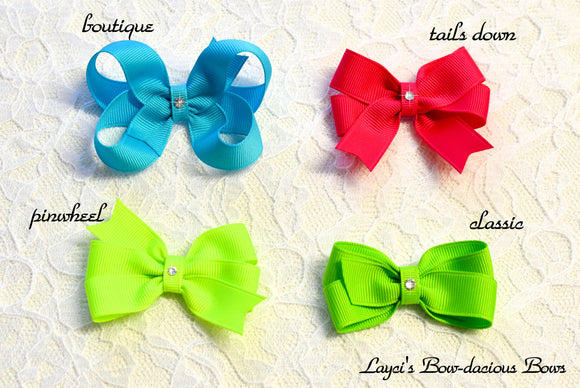 small boutique hair bow, small pinwheel hair bow, small classic bow, solid color bow