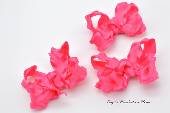 Small Hot Pink Ruffled Bows - pink baby bows - baby hair bows - 3 inch bows