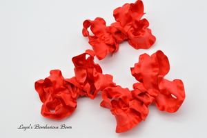 red baby bows, ruffled bows, fancy hair bows, red ruffled bows