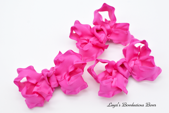 wild berry ruffled bows,  inch pink baby bows
