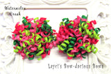 watermelon hair bow, korkers bows ,birthday bows