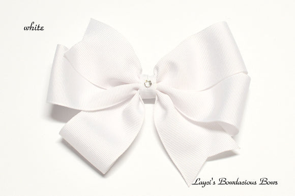 small white bow, medium white bow, large white bow, extra large white bow, white pinwheel hair bow