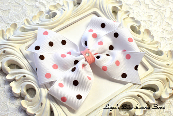 large white polka dot hair bow