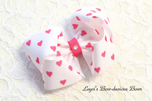 White Valentine's Day Bow with Hearts