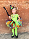 Witches Brew Petti Tutu - Girls Halloween Tutu - black, purple, green and orange tutu