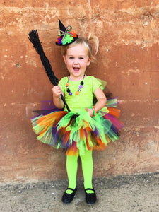 Witches Brew Traditional Tutu - Girls Halloween Tutu - black, purple, green and orange tutu