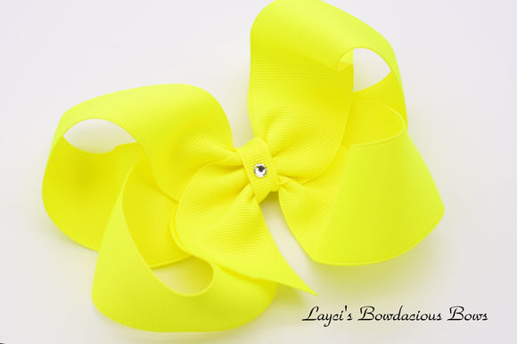 Extra Large Ansi Yellow Boutique Hair Bow - Ready to Ship - Rts2