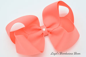 Extra Large Coral Boutique Hair Bow - Ready to Ship - Rts7