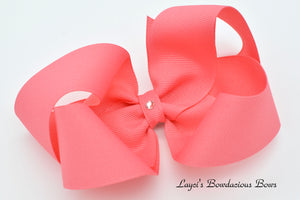 Extra Large Coral Rose Boutique Hair Bow - Ready to Ship - Rts7