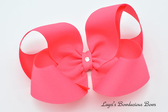 Extra Large Hot Pink Boutique Hair Bow - Ready to Ship - Rts7