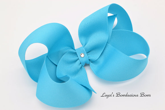 Extra Large Modern Turquoise Boutique Hair Bow - Ready to Ship - Rts5