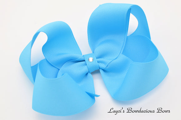 Extra Large Mystic Blue Boutique Hair Bow - Ready to Ship - Rts5