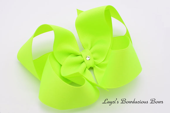 Extra Large Neon Lime Boutique Hair Bow - Ready to Ship - Rts2