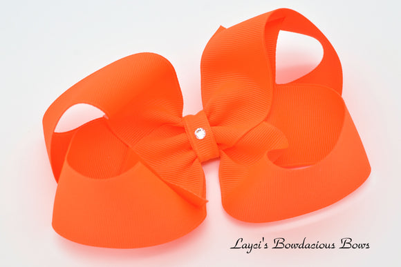 Extra Large Neon Orange Boutique Hair Bow - Ready to Ship - Rts6