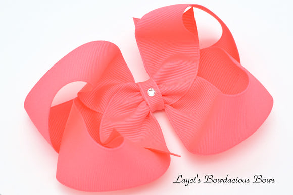 Extra Large Neon Pink Boutique Hair Bow - Ready to Ship - Rts7