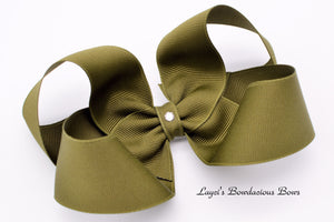 Extra Large Olive Green Boutique Hair Bow - Ready to Ship  - Rts2