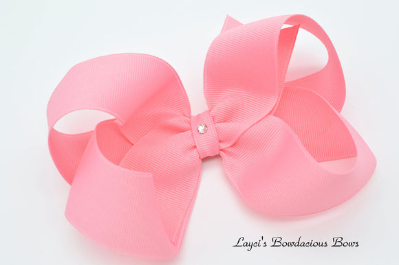 Extra Large Pink Boutique Hair Bow - Ready to Ship - Rts7