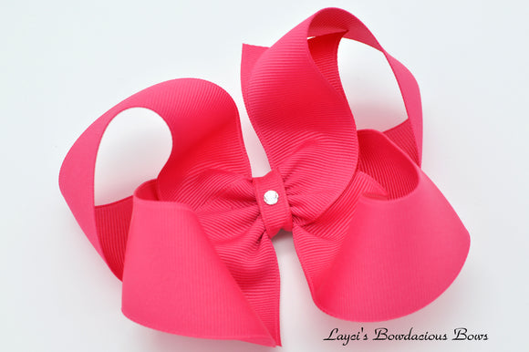 Extra Large Shocking Pink Boutique Hair Bow - Ready to Ship - Rts7