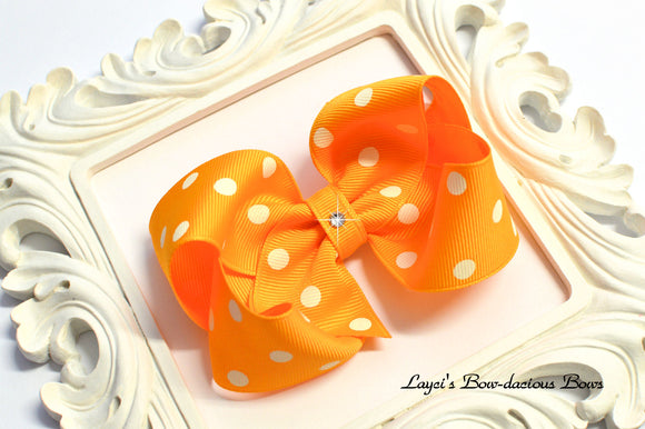 yellow gold polka dot bow