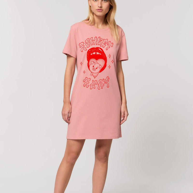 2 Sweet 2 Eat - Salmon Pink T-Shirt Dress