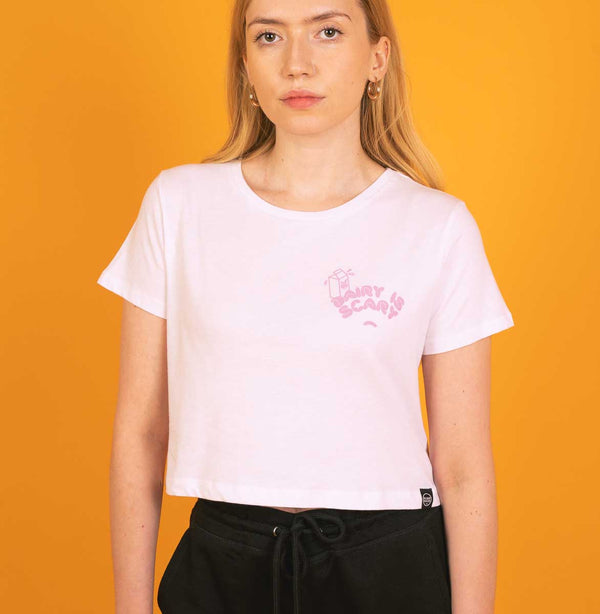 Dairy Is Scary - White Crop Top