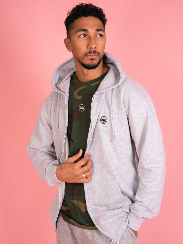 The Classics Zipper Hoodie - Embroidered Logo - Heather Grey