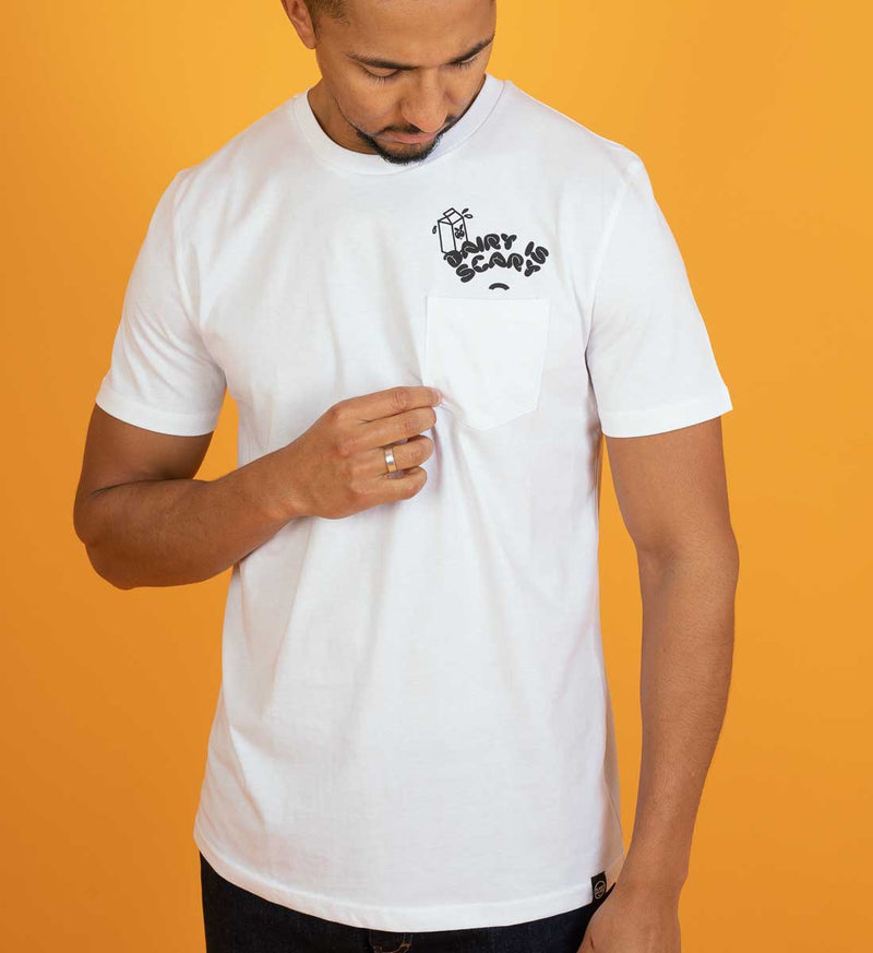 Dairy Is Scary Pocket Tee - White T-Shirt