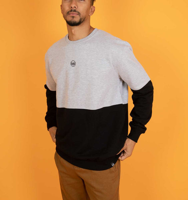 The Classics Crew Sweater - Embroidered Logo - Black x Grey Duotone Colourblock