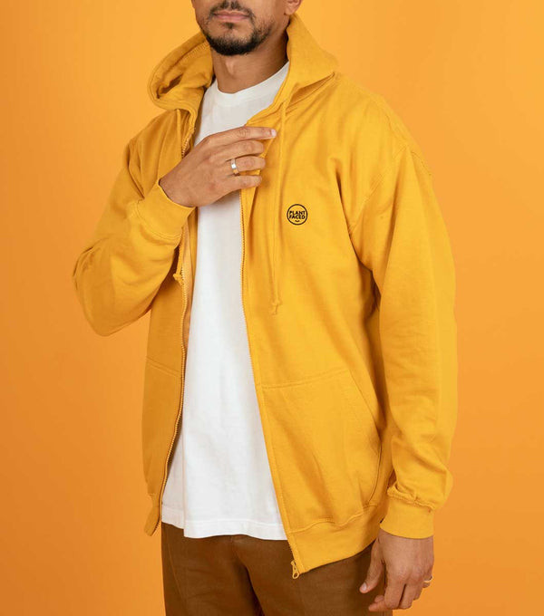The Classics Zipper Hoodie - Embroidered Logo - Mustard Yellow