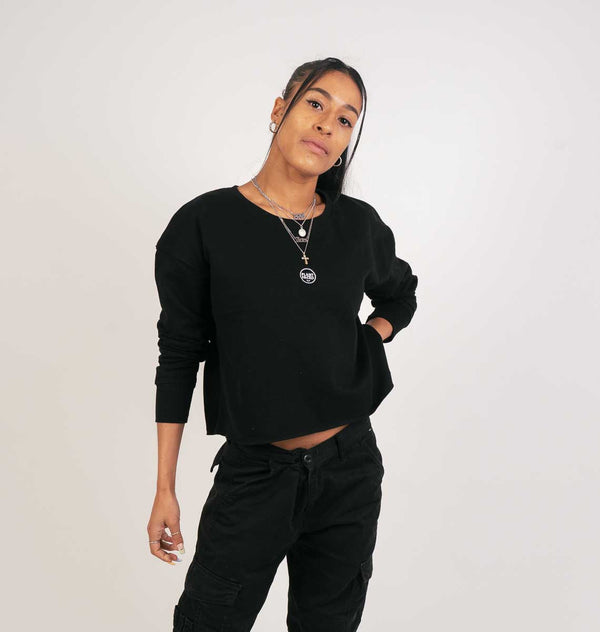 The Classics Cropped Sweater - Embroidered Logo - Black