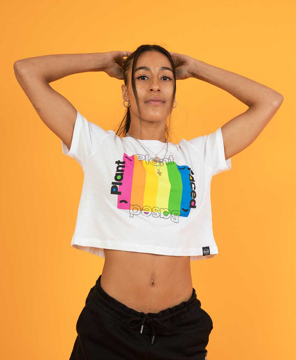 Plant Based Rainbow - White Crop Top