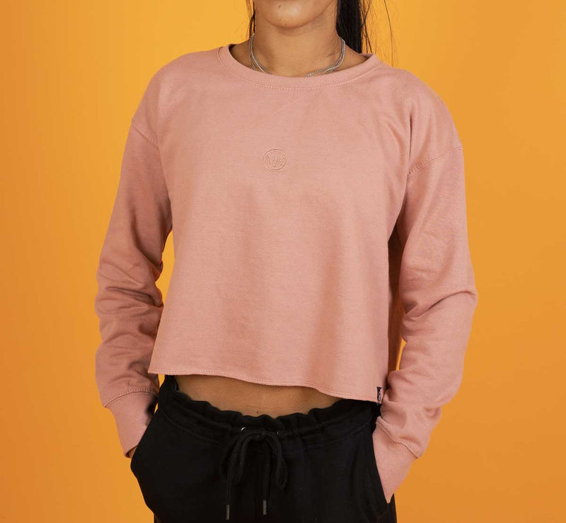 The Classics Cropped Sweater - Embroidered Logo - Pink