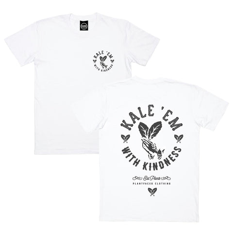 Kale 'Em With Kindness Tee - White - 100% Organic Cotton T-Shirt