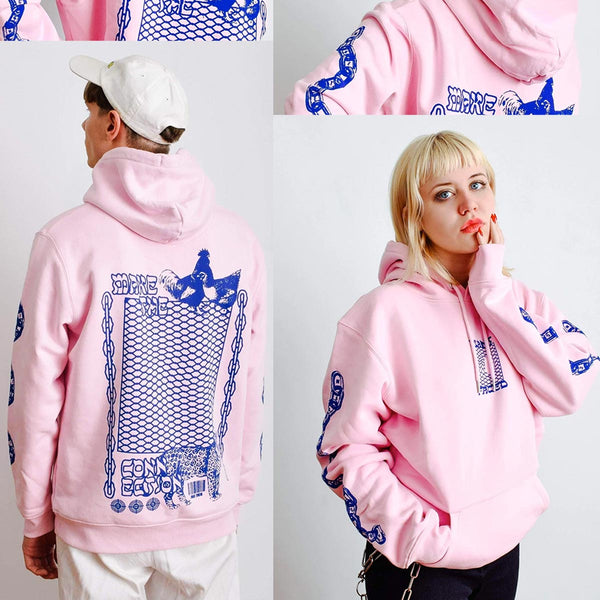 Make The Connection Hoodie - Pink x Blue - ORGANIC X RECYCLED