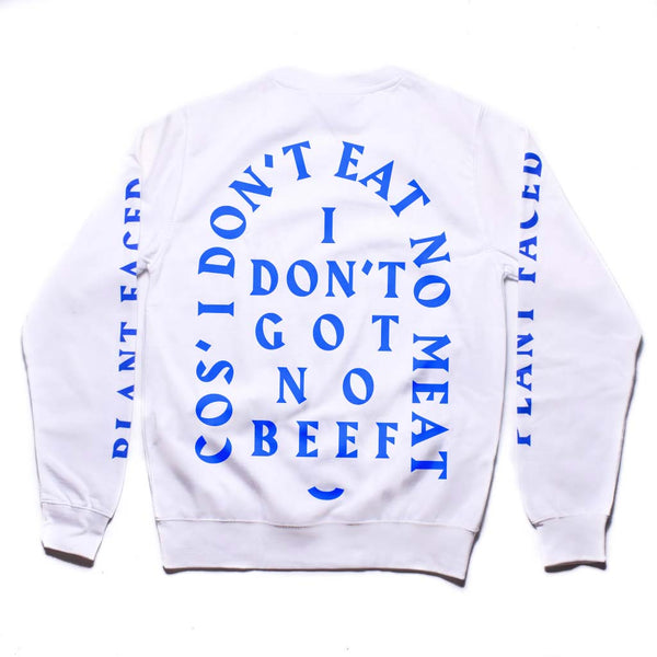 No Beef Sweater - White x Electric Blue - Unisex
