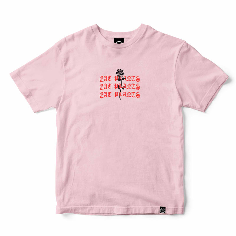 Eat Plants Goth Roses Tee - Candy Pink