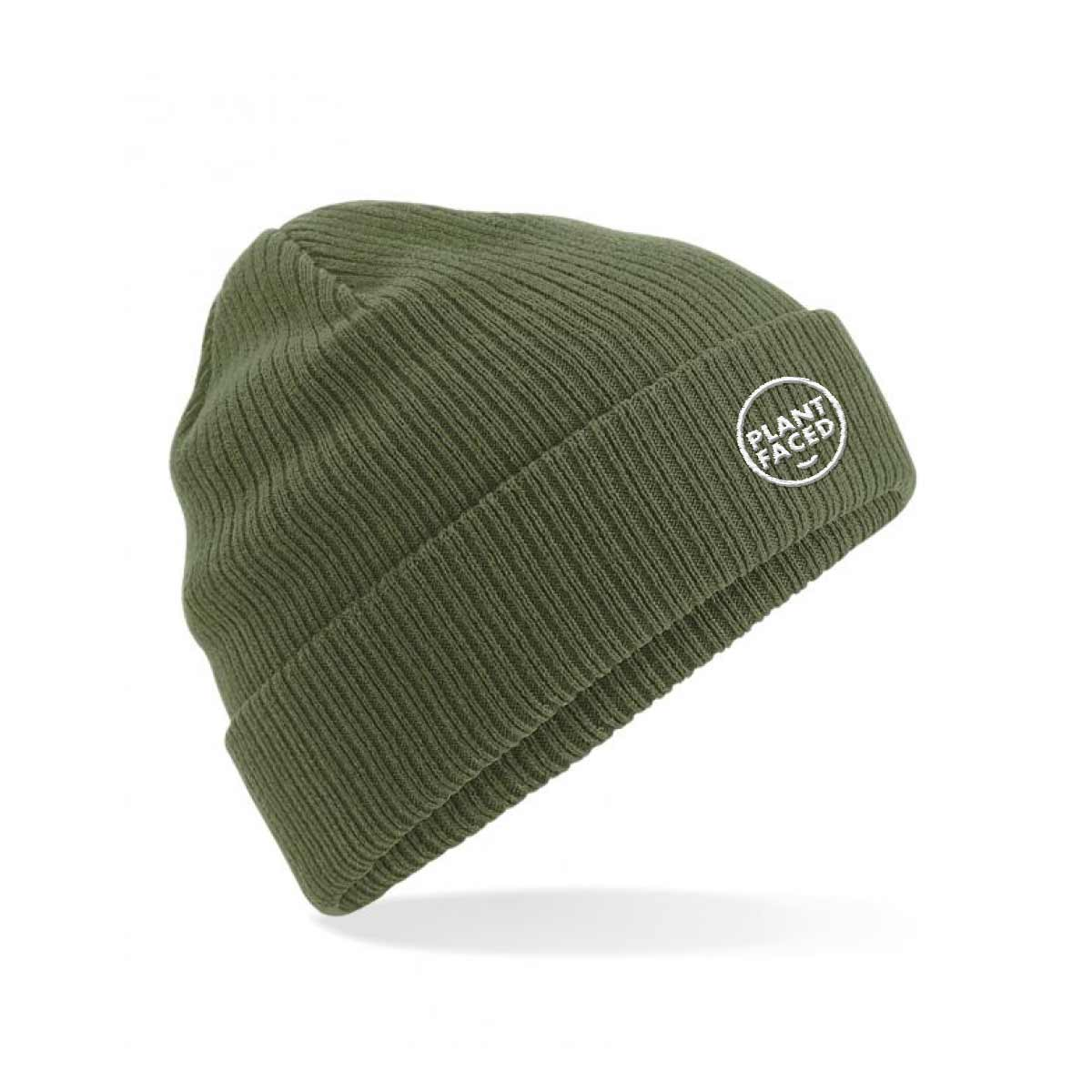 Plant Faced Organic Beanie - Fisherman Olive