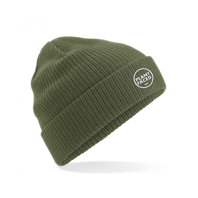 Plant Faced Organic Beanie - Fisherman Black