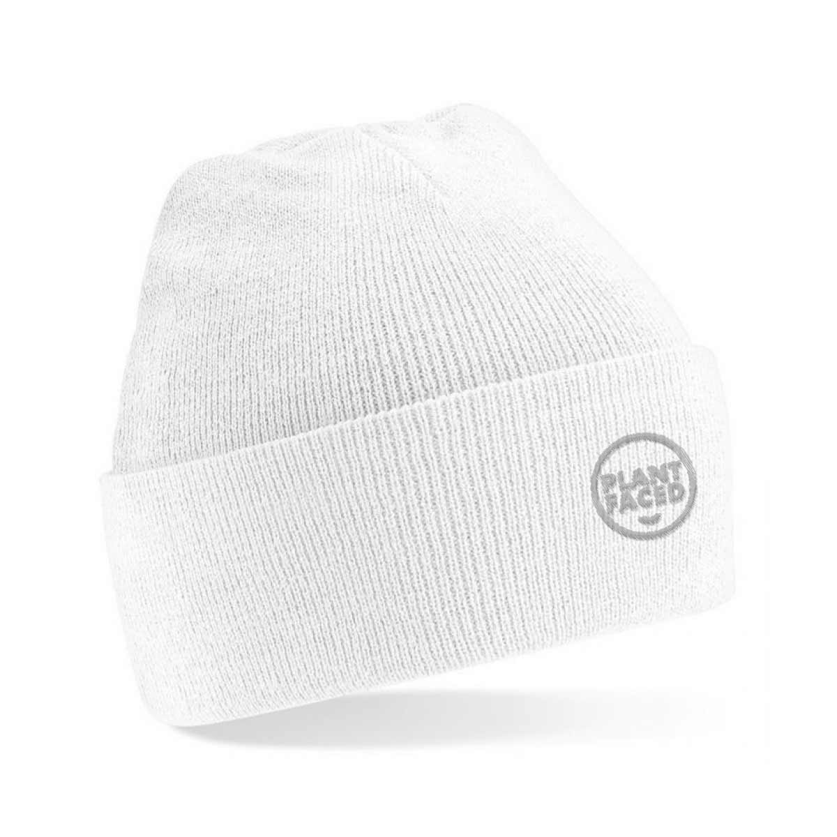 Plant Faced Beanie - Frost White