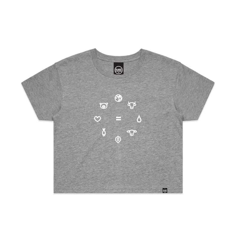 PLANT FACED CLOTHING: Crop Tops - Equal Beings - Marle Grey Crop Tee, Vegan Clothing